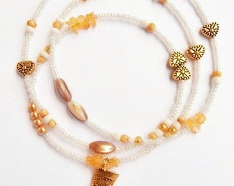 Waist Beads, Gold And White Nefertiti Waistbeads, African Belly Chains, Belly Beads