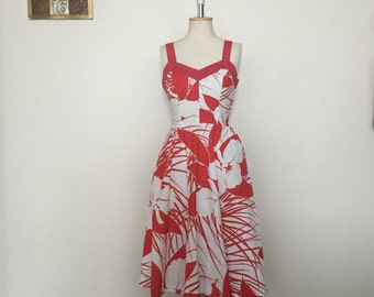 Vintage 80s does 50s dress red and white cotton