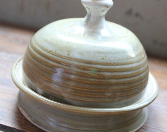 Handmade stoneware pottery ceramic butter dish in cream,  shimmering with hues of gold