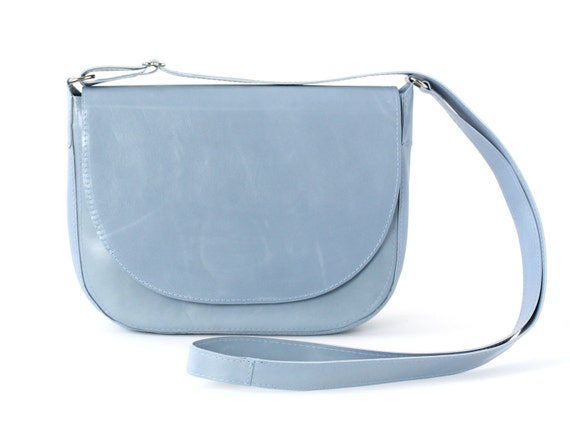 92027f5c9a5ea9 Saddle Bag Light Blue Leather Crossbody Bag by alexbender on Etsy Michael  Kors Sloan Small Messenger Pale ...