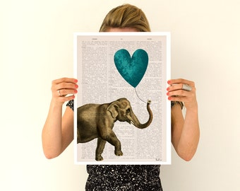 Elephant art, Elephant with a blue heart shaped balloon, Nursery wall art, Wall decor LOVE poster.Giclee ANI216PA3