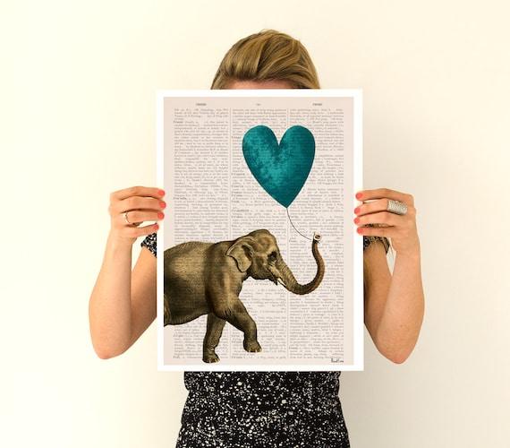 Christmas Sale Elephant art, Elephant with a blue heart shaped balloon, Nursery wall art, Wall decor LOVE poster.Giclee ANI216PA3