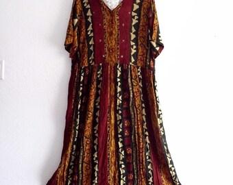 Sale Bohemian cotton gauze maxi dress.