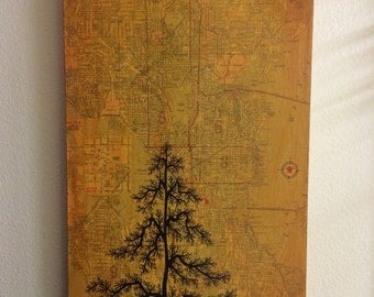"""ORIGINAL Mixed Media Tree Painting with Vintage 1964 Seattle Map 12""""x24"""""""