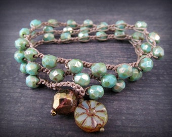 Boho Wrap Bracelet, Earthy Green Turquoise Necklace, Gypsy Bohemian Jewelry