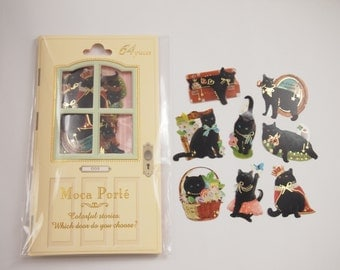 Black Cat Flake Stickers (64 pcs)