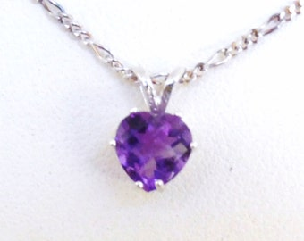 Februarys Birthstone Necklace, Amethyst Heart Gemstone Pendant, Sterling Silver Chain, Gifts for Her, On Sale