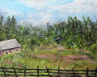 """Old Barn painting on 15"""" x 30"""" stretched canvas, unframed art, office art, large painting, wall decor, wall art, original acrylic painting"""