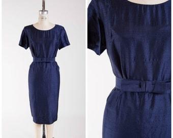 1950s Vintage Dress • Silent Midnight • Navy Blue Slubby Silk Vintage 50s Sheath Dress Size Large