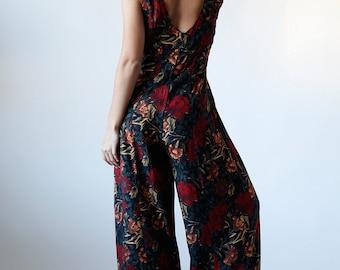 Vintage 90s Red Black Floral Revival Romper Dress Red 5 - #140