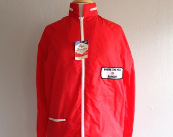 70s Nylon Windbreaker // Zip Up Nylon Jacket with Vintage Patch // Where the Hell is Bangor // Size Small