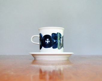 RESERVED Two Mid Century Arabia Finland Anemone Cups / Mugs / Saucers Blue