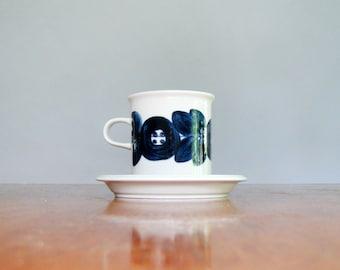 Single Mid Century Arabia Finland Anemone Cup / Mug / Saucer Blue