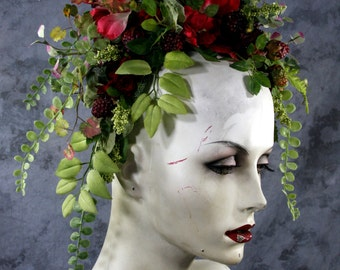 Order by 10/25 for Halloween delivery: Berries & flowers Forest Fairy headpiece headband costume Renaissance Fair Wedding bridesmaid Bride