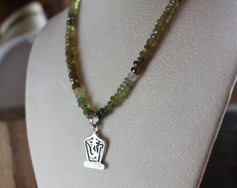 Green Garnet Tibetan OM Necklace