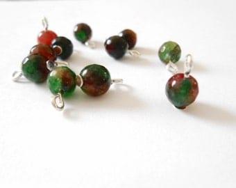 Agate(Grade B) Loose Fuchsia & Green Dyed Dangle Beads