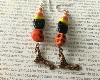 Halloween Skull Earrings - Limited Edition - Candy Corn Howlite Gemstone Skulls Day of the Dead Skull Jewelry Black Cats Halloween Jewelry