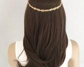 Gold leaf halo, Gold leaf wedding crown, gold leaf bridal circlet, gold leaf wedding headband
