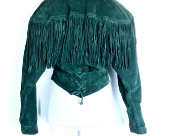 VTG Wilsons Green Suede Fringe Leather Jacket WIth Corset Detail Size S
