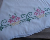 Hand Stitched Pillow Cases, Vintage Pillow Cases, Cross Stitch Trim, Set of TWO, White Pillow Cases, Display Stitching, Retro MyVintageTable
