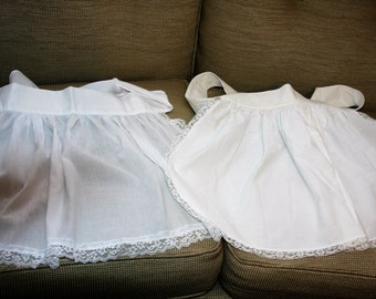 Two 2 French Maid Aprons - White Cotton Lace - Each is Different