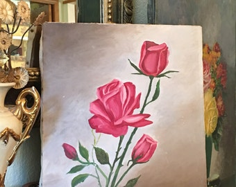 Pink ROSES OIL PAINTING on Canvas Signed dated '71 Shabby Chic