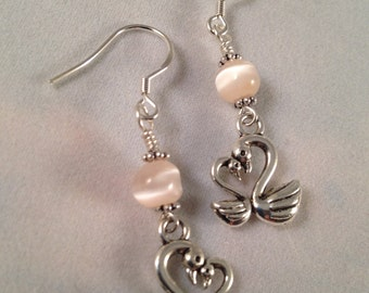 Loving Swans Silver White Japanese Miracle Bead Dangle Earrings