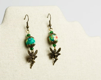 Woodland Faerie Beaded Dangle Earrings.