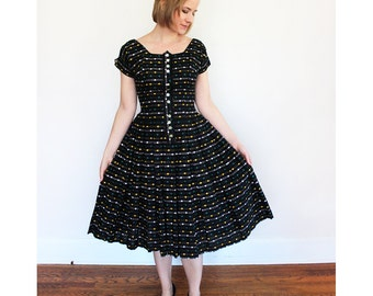 Vintage Fit and Flare Dress / 1950s Black Dress with Yellow, White and Green Polka Dots / Medium