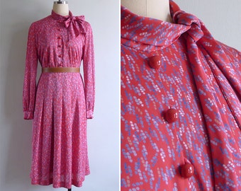 Vintage 80's Abstract Candy Confetti Bow Collar Coral Red Dress M or L