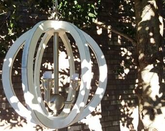 "15"" Mini Distressed Painted White Wood Orb Satin Nickel Chandelier Sphere Wood Chandelier Rustic Farmhouse"
