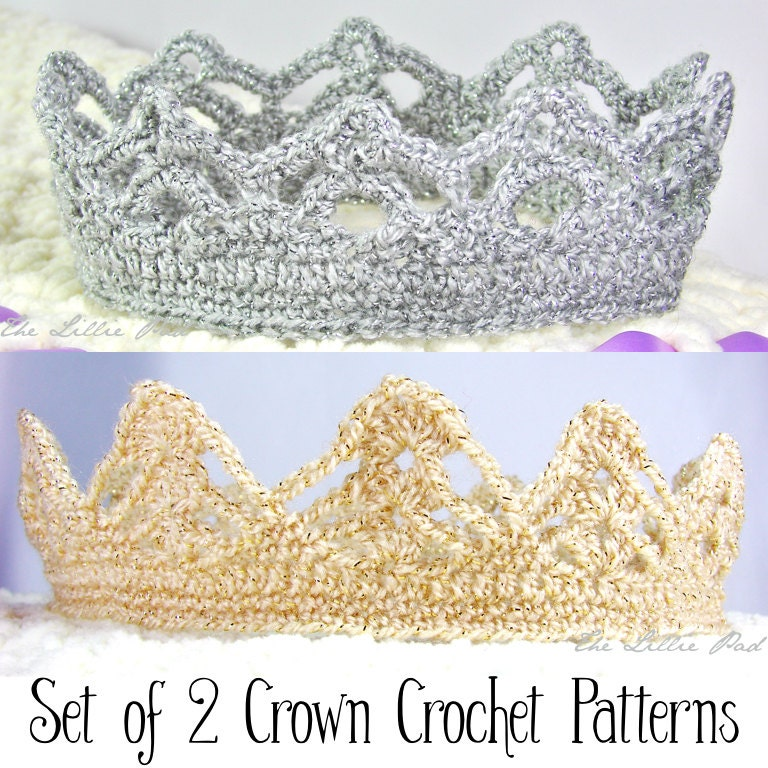 Crochet Baby Girl Clothes Patterns : Crochet Crown PATTERNS for Girl and Boy Set of by TheLilliePad