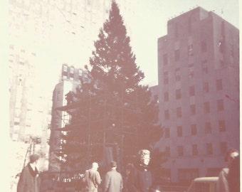 "Vintage Snapshot ""Rockfeller Center Christmas Tree"" New York City Street Scene - Kodak Color Print - Taxi - Found Vernacular Color Photo"
