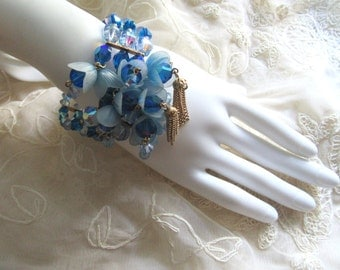 Stupendous Electric Blue Crystal Memory Wire Bracelet Plastic Bell Flower Caps Vintage Costume Jewelry Summer Jewelry Garden Party Wedding