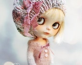 PINK MIST Wool Beret For Blythe By Odd Princess Atelier, Hand Knitted Hat