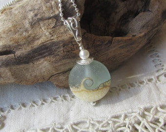Wave Necklace - Lightest Aqua Wave with Cream and Silver Dots Artisan Bead on Sterling Chain, Casual Necklace, Beach Ocean Lovers Necklace