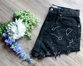 Black high waist vintage denim shorts Size 10   Ripped distressed shorts   Constellation embroidered denim   Unique hipster festival short  