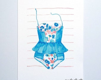 "Bathing suit illustration art print summer swim suit painting - ""The Blue Suit"""