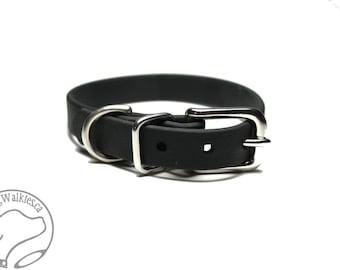 "Jet Black Little Dog Collar - 1/2"" (12mm) Thin Beta Biothane Dog Collars - Waterproof Small Dog Collar"