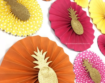 9pc Summer Paper Fans | Luau Birthday Party| Hot Pink, Yellow & Orange Paper Rosettes | Summer Pool Birthday Party | Aloha Bridal Paper Fans