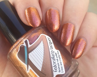 Angelica (mini size & full size)- Copper bronze shimmer metallic indie polish by Fedoraharp Lacquer