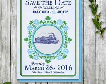 Steampunk Train Postcard, Printable Postcard Spring Save the Date, Spring Wedding at Train Station, Train Station Event Invite