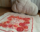 SALE of WHITE CLOUD Large felt art seamless wool pillow, textile art soft sculpture home decor handmade cushion for sofa floor natural white