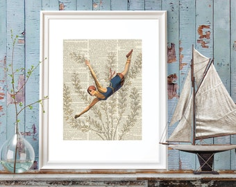 Nautical, Diver, Swimmer, Vintage Swimmer, Vintage Diver, Wall Art, Diver Digital Print, Nautical, Coastal Home, Coastal Wall Art, Coastal