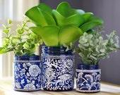 Hostess Gift, Botanical Inspired, Set of 3 Mason Jar Vases, Canisters- Indigo Blue Glass with Matte White Detailing, Toile Fabric Pattern