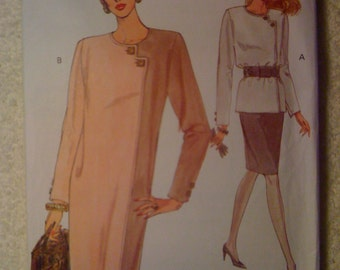 Very Easy Very Vogue 8507 Sewing Pattern 1990s Uncut Misses and Misses Petite Dress, Top and Skirt Size 8-10-12