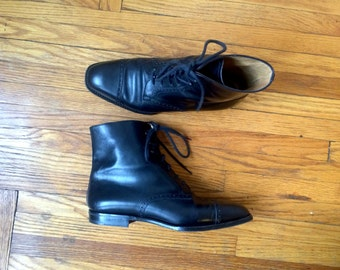 Rare Church's Vintage Womens Black Ankle Boots Brogues Size 40, 9 US Handmade