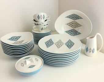 Ben Seibel Iroquois Informal Dinnerware, Service for 8 in Blue Diamonds Pattern, Near Mint