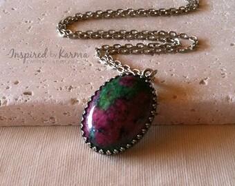 Ruby Zoisite Necklace,Ruby Zoisite Pendant Necklace,Chakra Necklace,Gemstone Jewelry,Healing Necklace, Ruby Zoisite Jewelry, Ruby Necklace