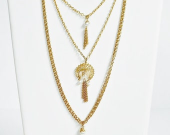 Gold Chain Multi Strand Faux Pearl Tassel Necklace Fancy Clasp, Vintage Long Triple Strand Chain Necklace